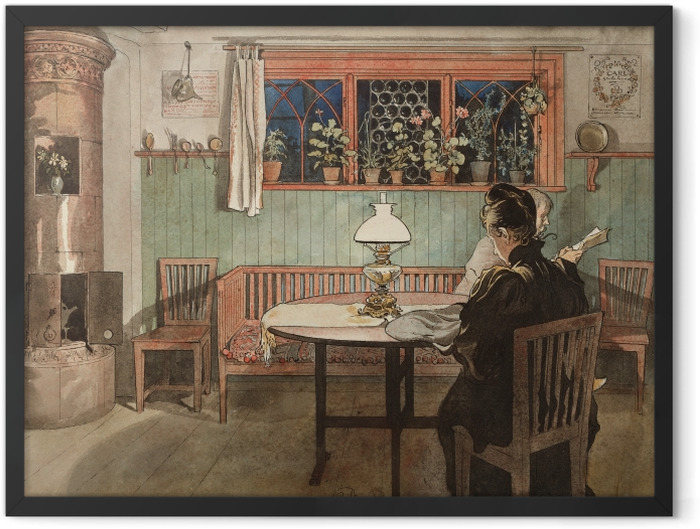 Gerahmtes Poster Carl Larsson - Wenn die Kinder schlafen - Reproductions