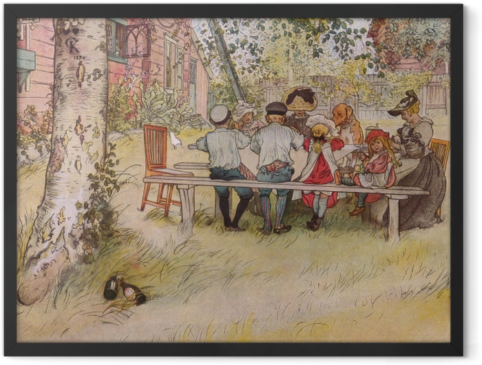 Plakat w ramie Carl Larsson - Śniadanie pod wielką brzozą - Reproductions