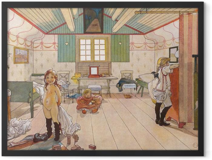 Gerahmtes Poster Carl Larsson - Schlafzimmer von Müttern und Mädchen - Reproductions