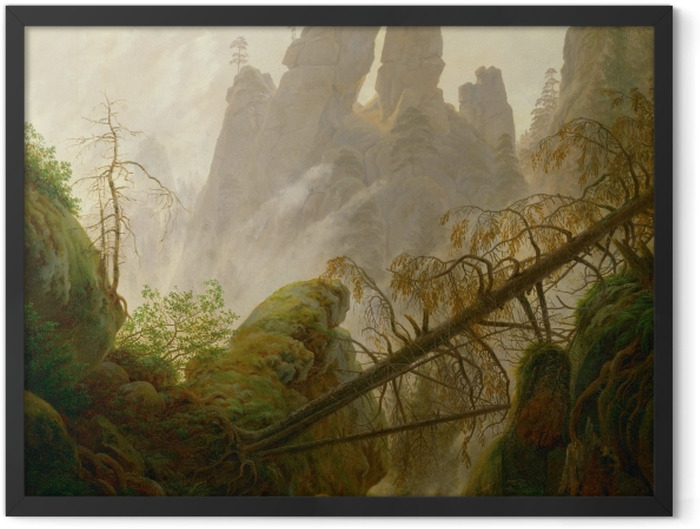 Plakat w ramie Caspar David Friedrich - Skalisty wąwóz w Górach Połabskich - Reproductions