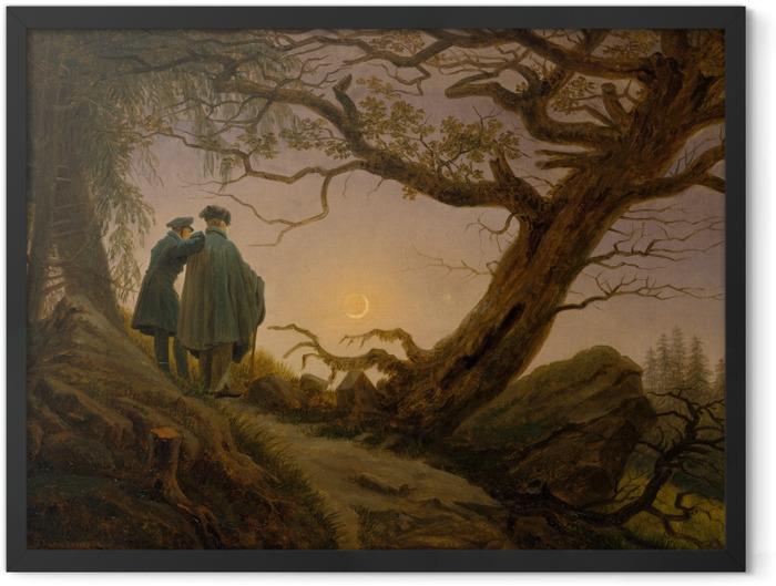 Poster en cadre Caspar David Friedrich - Deux hommes contemplant la lune - Reproductions