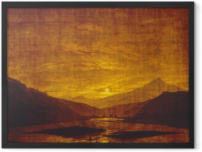 Gerahmtes Poster Caspar David Friedrich - Flusslandschaft bei Nacht - Reproductions