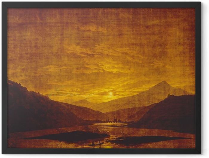 Poster en cadre Caspar David Friedrich - Paysage de rivière montagneuse - Reproductions