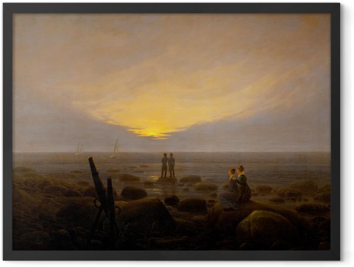 Gerahmtes Poster Caspar David Friedrich - Mondaufgang über dem Meer - Reproductions