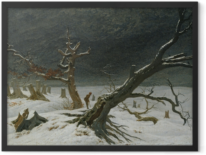 Plakat w ramie Caspar David Friedrich - Pejzaż zimowy - Reproductions