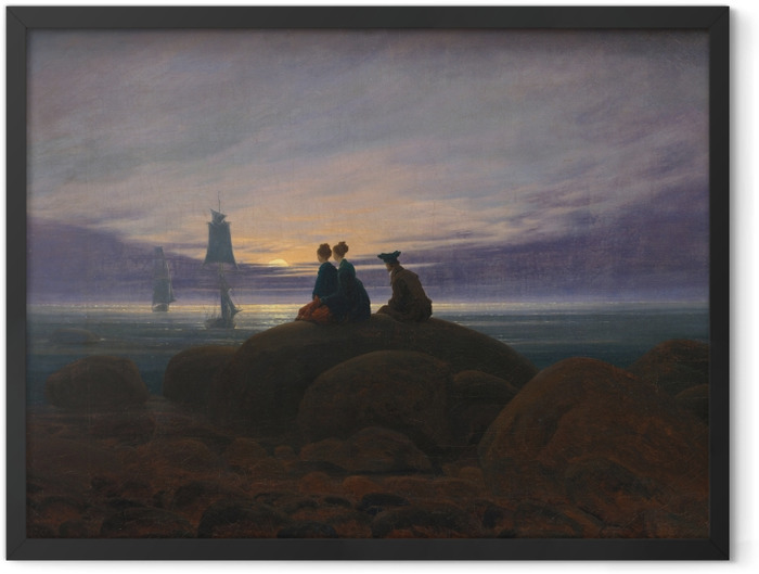 Plakat w ramie Caspar David Friedrich - Wschód księżyca nad morzem II - Reproductions