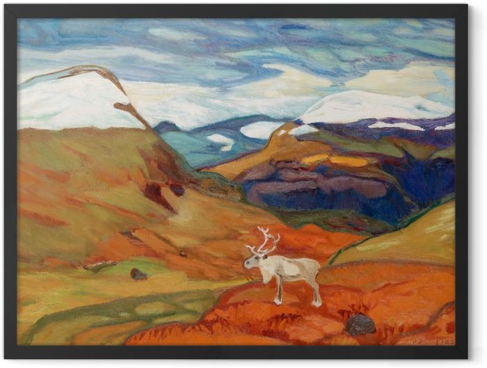Poster en cadre Helmer Osslund - Paysage d'automne avec des rennes - Reproductions