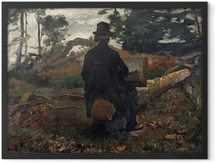 Gerahmtes Poster Jacob Maris - Maler Frederik Hendrik Kaemmerer bei der Arbeit in Oosterbeek - Reproductions