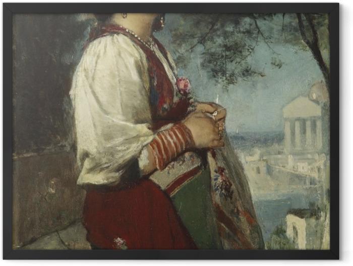 Poster en cadre Jacob Maris - Une jeune beauté italienne aux papillons - Reproductions