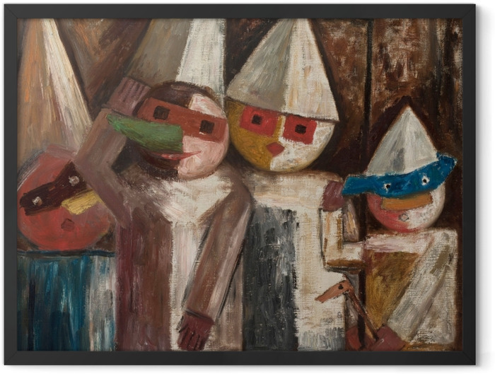 Gerahmtes Poster Tadeusz Makowski - Kinderkarneval mit einer Flagge - Reproductions