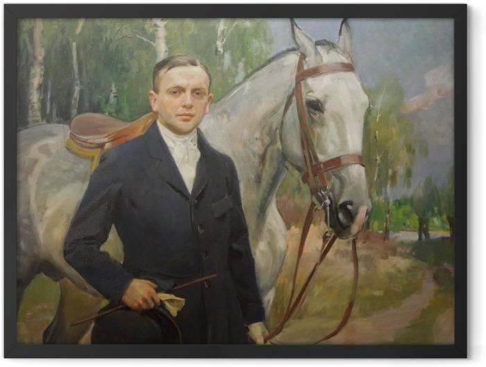 Plakat w ramie Wojciech Kossak - Portret Bronisława Krystalla z koniem - Reproductions