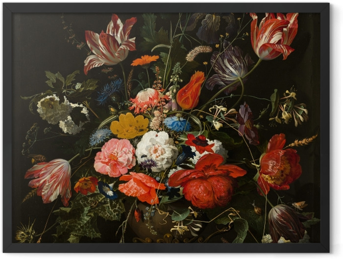 Poster en cadre Abraham Mignon - Flowers in a Metal Vase - Reproductions