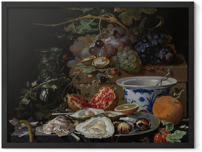 Poster en cadre Abraham Mignon - Still Life with Flowers, Oysters and a Porcelain Bow - Reproductions