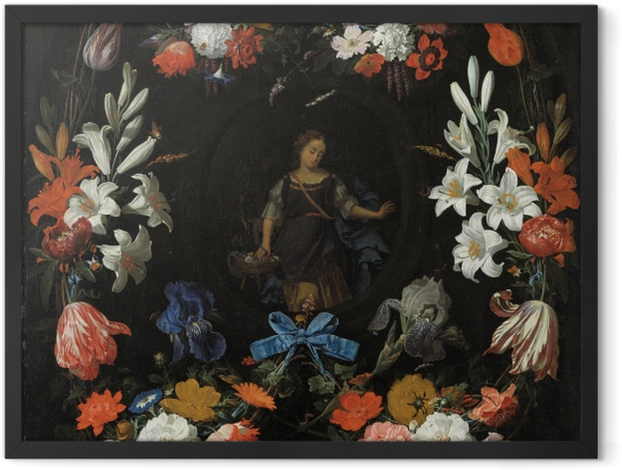 Poster en cadre Abraham Mignon - Garland of Flowers - Reproductions