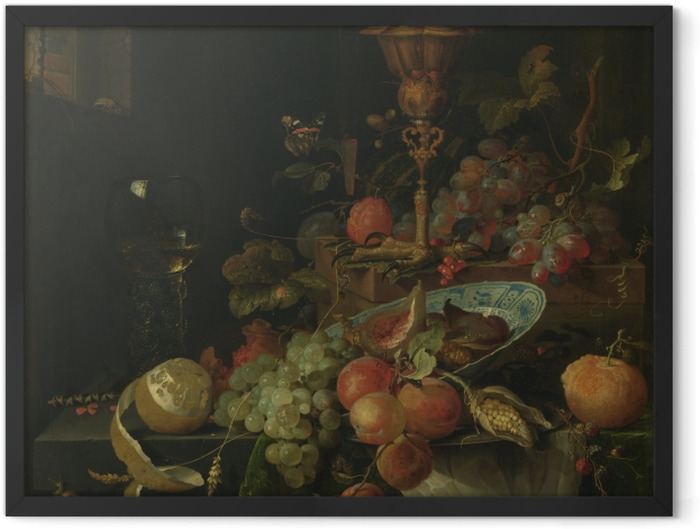 Poster en cadre Abraham Mignon - Still life with fruit and a bowl on a roosters leg - Reproductions