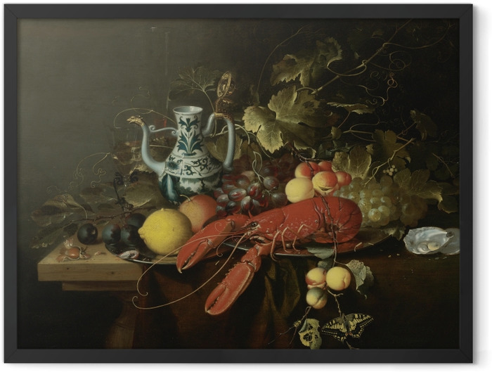 Plakat w ramie Laurens Craen - Still Life With A Lobster On A Pewter Plate, Lemons, Grapes, Apricots, Oysters - Reprodukcje