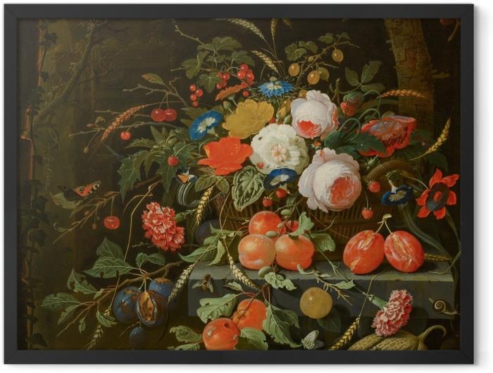 Gerahmtes Poster Abraham Mignon - Flowers and Fruit - Reproduktion