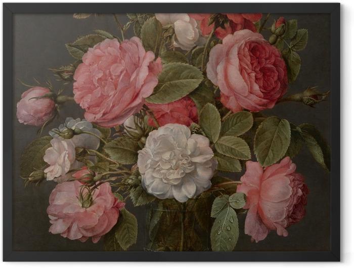 Gerahmtes Poster Jacob van Hulsdonck - Roses in a Glass Vase - Reproduktion