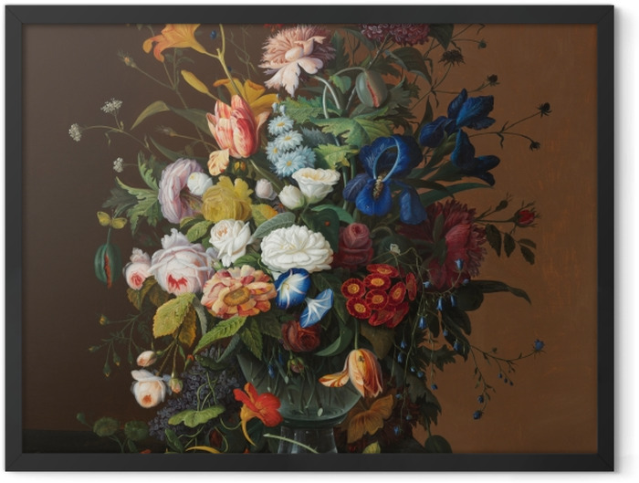 Poster en cadre Severin Roesen - Flower Still Life with Bird's Nest - Reproductions