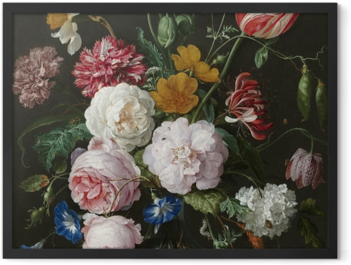 Gerahmtes Poster Jan Davidsz - Still Life with Flowers in a Glass Vase - Reproduktion