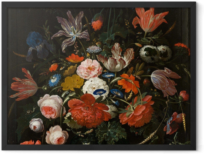 Poster en cadre Abraham Mignon - Flowers in a Glass Vase - Reproductions