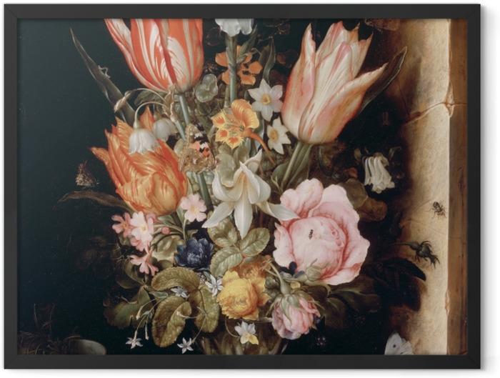 Gerahmtes Poster Christoffel van den Berghe - Still Life with Flowers in a Vase - Reproduktion