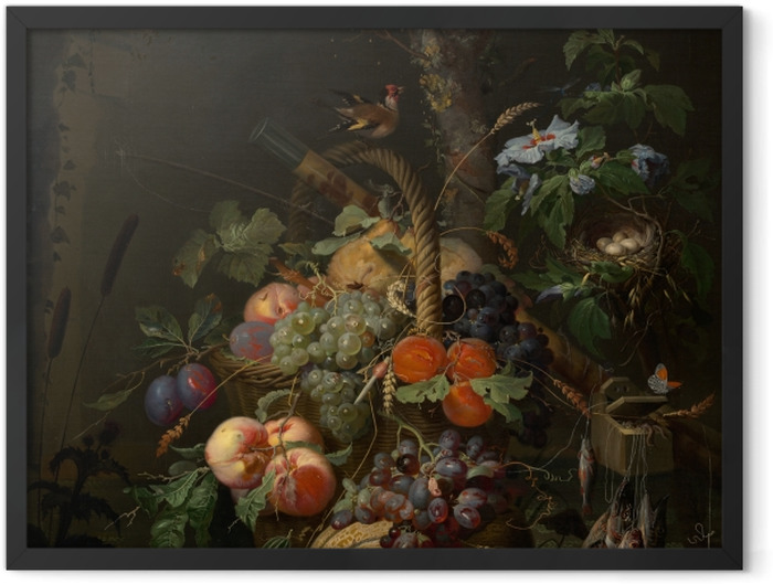 Plakat w ramie Abraham Mignon - Still Life with Fruit, Fish and a Nest - Abraham Mignon