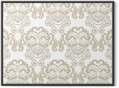 Vector floral damask baroque ornament pattern element. Elegant luxury texture for textile, fabrics or wallpapers backgrounds. Beige color Framed Poster