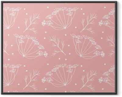 Dill or fennel flowers and leaves pattern. Framed Poster
