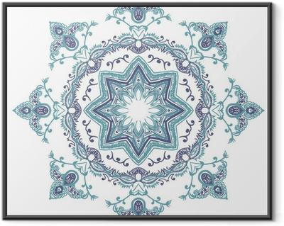 Stencil Mandala Indian Design Framed Poster