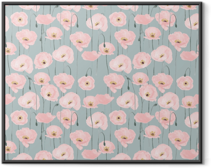 Pink poppies - Nina Ho Framed Poster - Contemporary artists