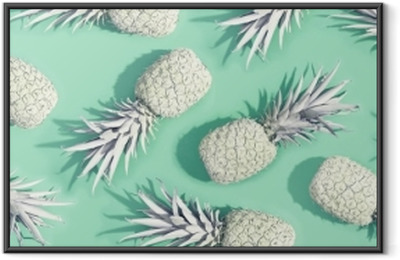 Painted pineapples on a pastel green background Framed Poster