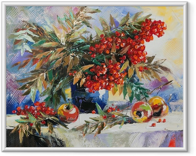 Still-life with a mountain ash and apples Framed Poster