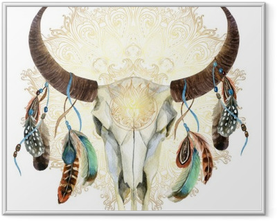 watercolor cow skull with feathers Framed Picture