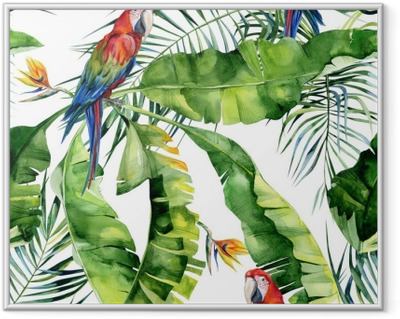 Seamless watercolor illustration of tropical leaves, dense jungle. Scarlet macaw parrot. Strelitzia reginae flower. Hand painted. Pattern with tropic summertime motif. Coconut palm leaves. Framed Poster