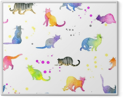 Seamless pattern with cute cats Framed Picture