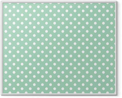 Polka dots on mint background retro seamless vector pattern Framed Picture