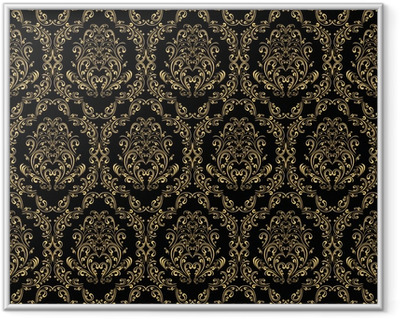 Seamless retro wallpaper in victorian style: gold on black. Framed Poster
