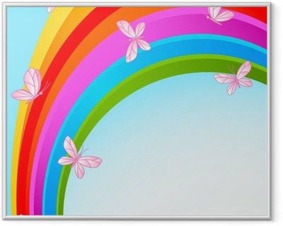 Rainbow sky with butterfly Framed Picture