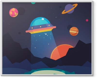 Night alien world landscape and ufo spaceship Framed Picture