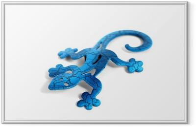 Blue metal lizard Framed Poster