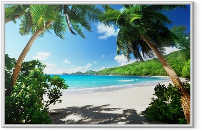 beach, Mahe island, Seychelles Framed Picture