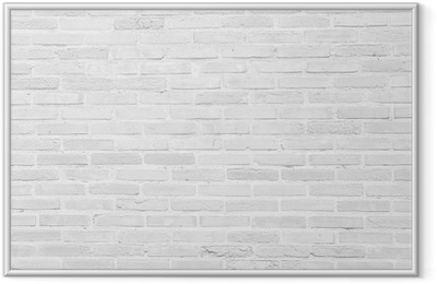 White grunge brick wall texture background Framed Poster
