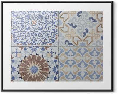 Beautiful old ceramic tile wall patterns in the park public. Framed Poster