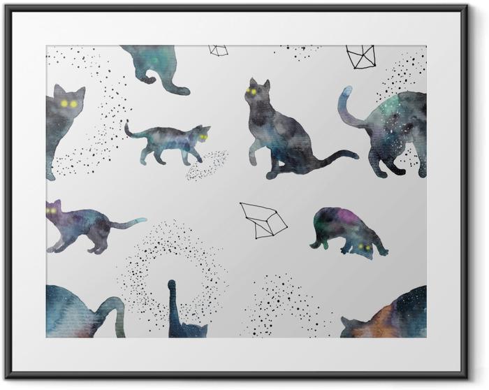 Cosmic cats - Tatiana Framed Poster - Contemporary artists