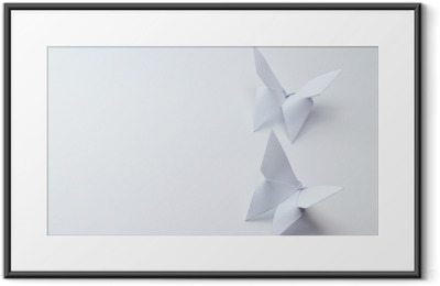 origami butterflies on white background Framed Poster