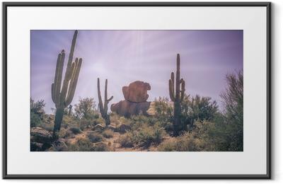 Desert boulders saguaro cactus tree landscape Framed Poster