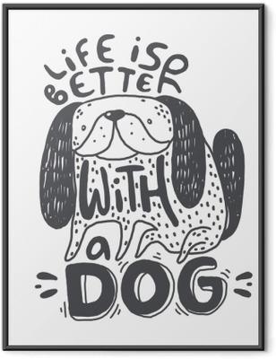 Çerçeveli Baskı Metin ile köpek