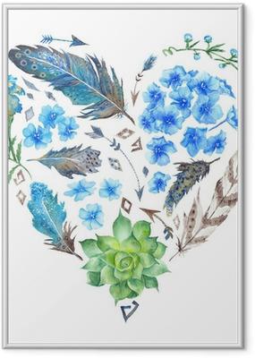 Boho-tyyliin vesiväri sydämen muotoinen Kehystetty juliste
