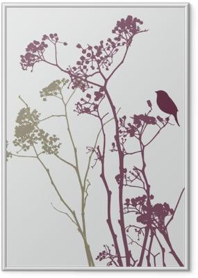 Plakat w ramie Ptak na łące kwiatów